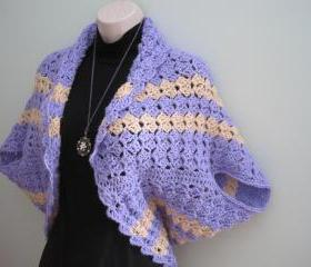 Crochet Shrug - lavender/beige (CS1) - Just made for Spring