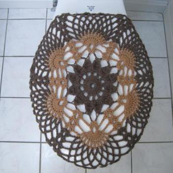 Crochet Toilet Seat Cover - taupe heather/topaz (TSC9A)