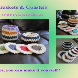 3 Crochet Patterns - Baskets and Round Coasters (25VC2012)