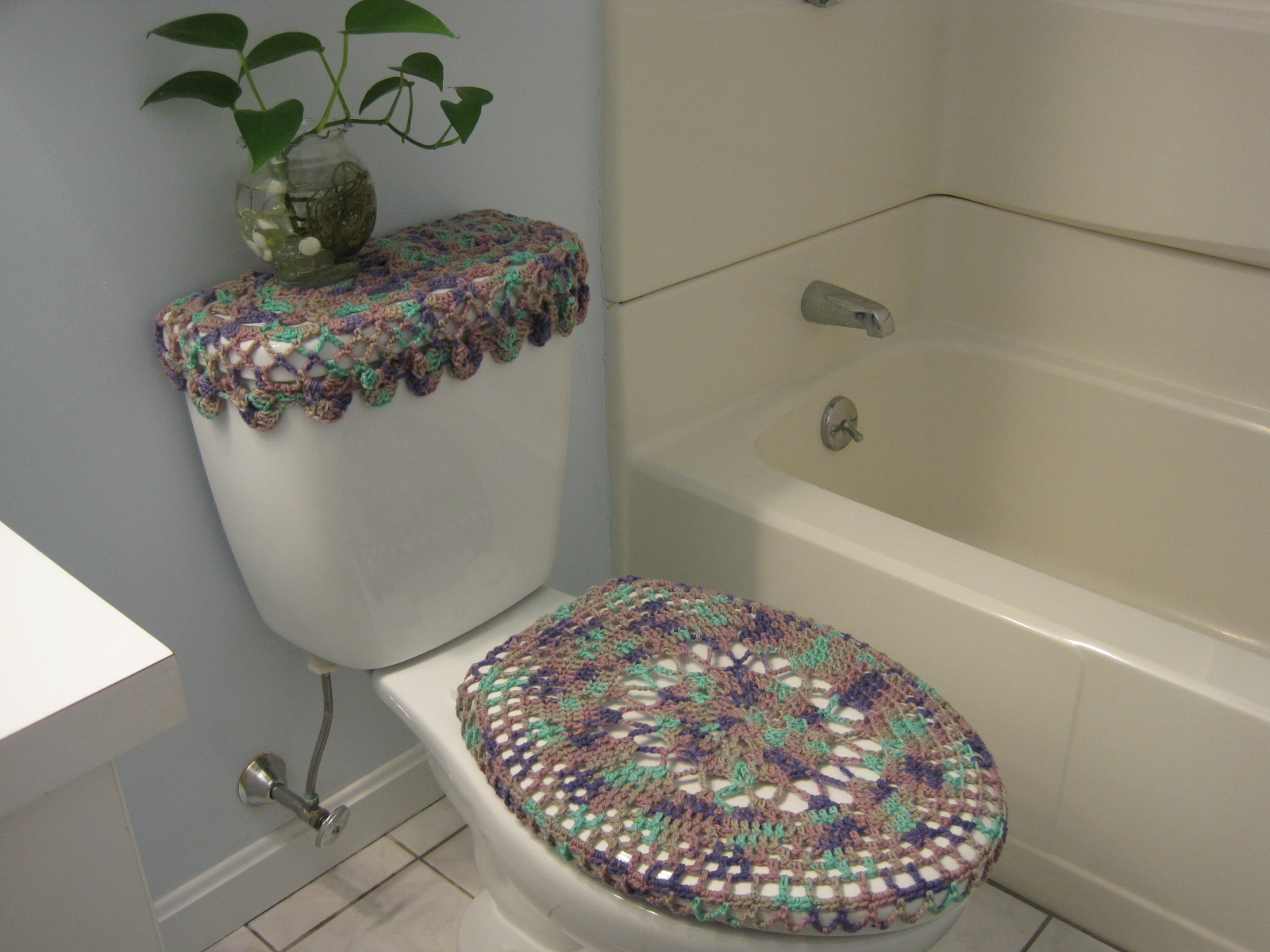 Crochet Toilet Seat Cover Toilet Seat Cozy Shadow Ombre TSC - Burgundy toilet seat cover